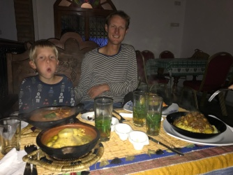Our first restaurant dinner in Morocco