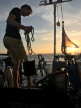 Doing the dishes at anchor