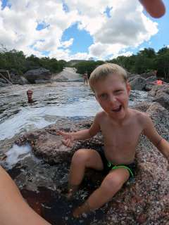 Cool kid with the rock slide in the background